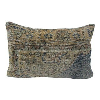 Turkish Antique Mustard and Navy Kilim Rug Decorative Pillow Cover - 24ʺW × 16ʺH For Sale