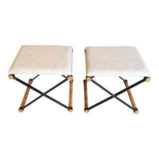 Vintage Mid-Century X Base Iron & Faux Bamboo Stools - A Pair