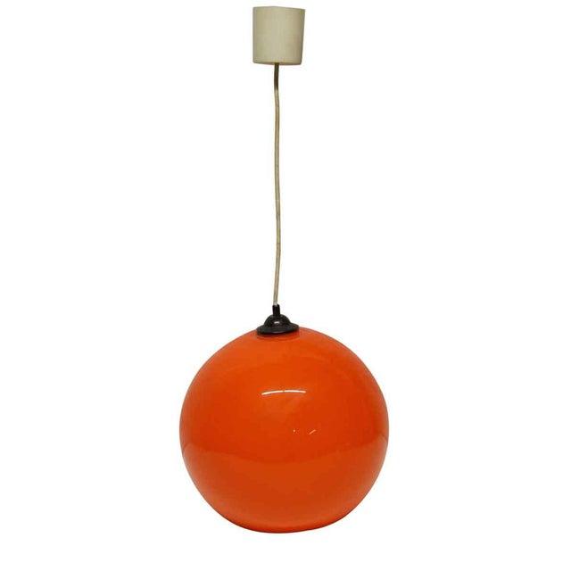 Mid 20th Century Modern Orange Opaline Glass Pendant Light For Sale - Image 5 of 5