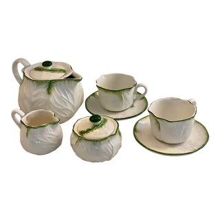 Tiffany and Co. Italian White Cabbage Leaf Tea Set - 7 Piece Set For Sale