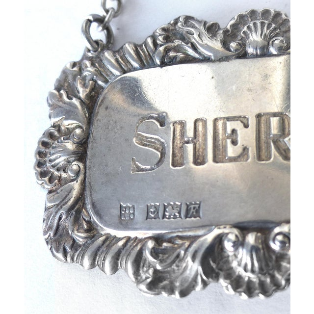 "English Traditional ""Sherry"" Sterling Silver Decanter Label For Sale - Image 3 of 4"