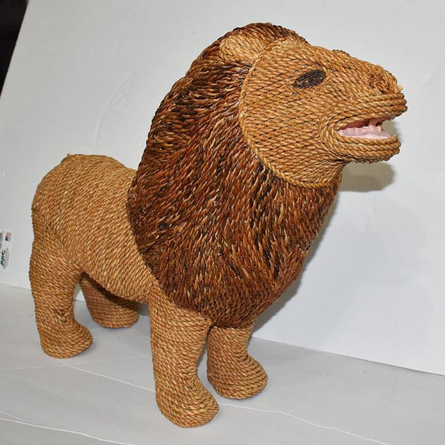 Mario Torres Lopez Style Wicker Raffia Lion Animal For Sale - Image 11 of 11