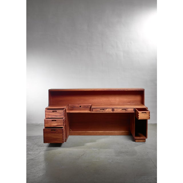 American Unique and Large Jim Sweeney Wooden Studio Craft Desk, Usa, 1970s For Sale - Image 3 of 5