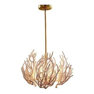 Brass Coral Moth Chandelier For Sale