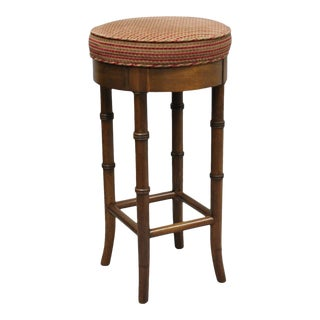 Vintage Chinese Chippendale Style Mahogany Faux Bamboo Counter Bar Stool