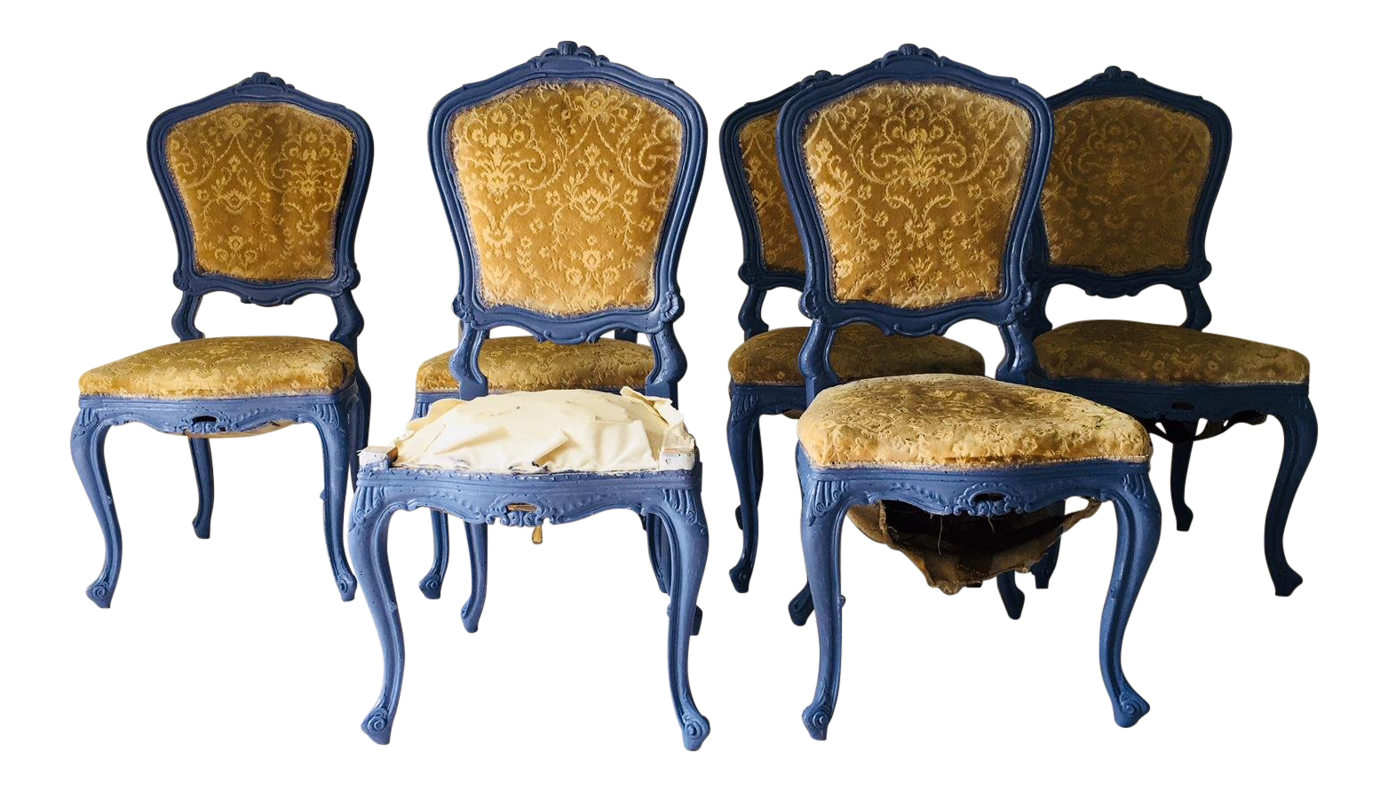 Vintage French Provincial Dining Chair Frames (6) Newly Painted Provence Blue | Chairish  sc 1 st  Chairish & Vintage French Provincial Dining Chair Frames (6) Newly Painted ...