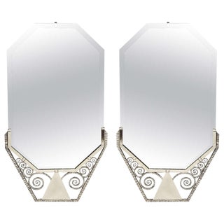 French Art Deco Hand-Hammered Iron Mirrors - a Pair For Sale