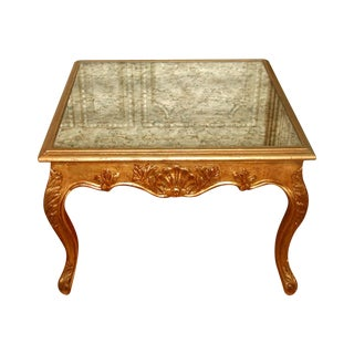 19th C. French Gilt Mirrored Coffee Side Table For Sale