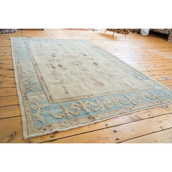 "Vintage Pale Blue Oushak Carpet - 5'4"" X 8' For Sale - Image 5 of 8"