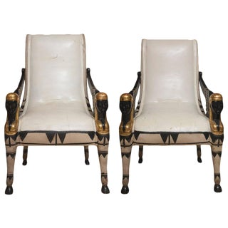 Early 20th Century Pair of Painted and Parcel Gilt Bugatti Armchairs For Sale