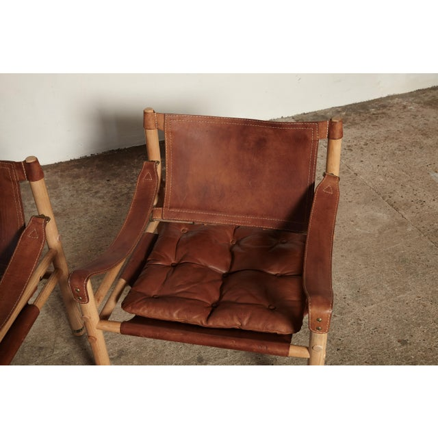 Brown Pair of Arne Norell Sirocco Safari Chairs, Norell Mobel, Sweden, 1970s For Sale - Image 8 of 13