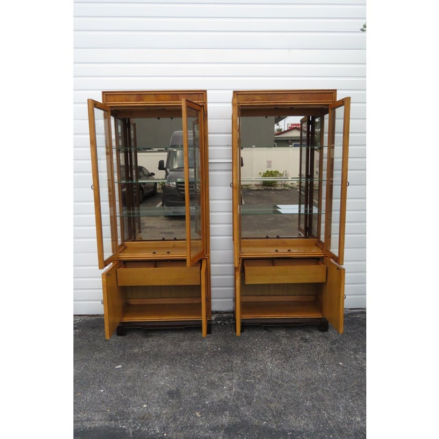 American American of Martinsille Hollywood Regency Pair of China Display Cabinets 2398 For Sale - Image 3 of 13