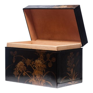 Lawrence & Scott Hand-Painted Black Water Buffalo Leather Box For Sale