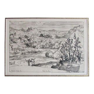 18th Century Antique French Cabinet Du Roy Studio of Annibale Carracci Framed Etching For Sale