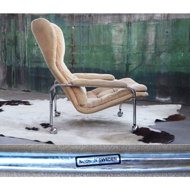 1970s Rare Mid Century Vintage Swedish Lounge Chair by Scapa Rydaholm, 1970s For Sale - Image 5 of 10