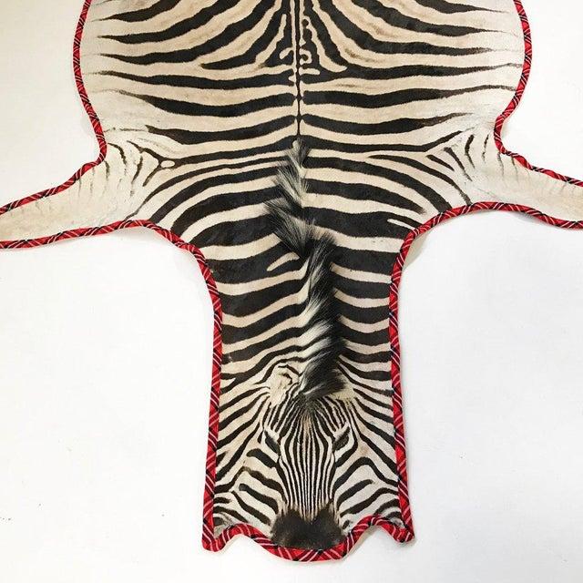 Tribal Maasai Warrior Blanket Trimmed Zebra Hide Rug- 6′6″ × 8′6″ For Sale - Image 3 of 5