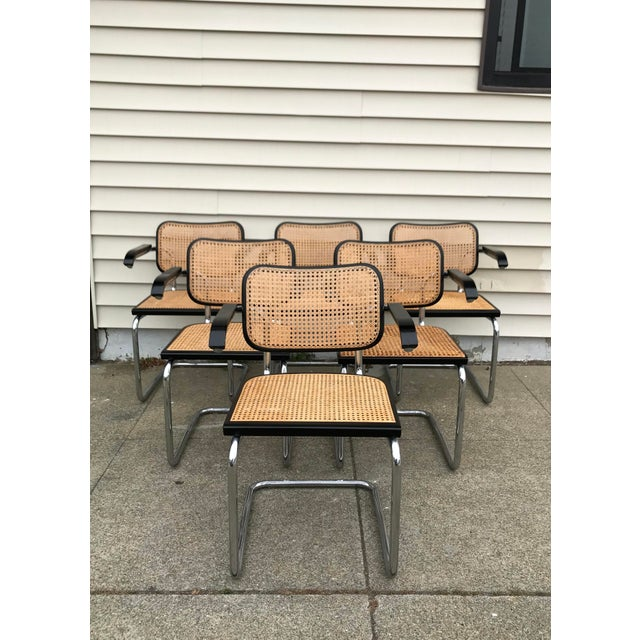 Italian Vintage Mid-Century Modern Marcel Breuer Cesca Style Chairs - Set of 6 For Sale - Image 3 of 13
