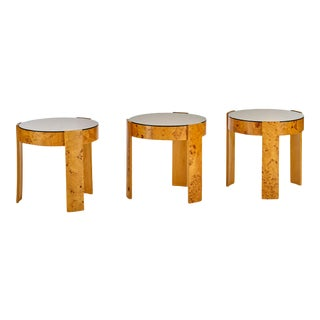 Burl Wood and Smoke Glass Round Stacking or Nesting Tables - Set of 3 For Sale