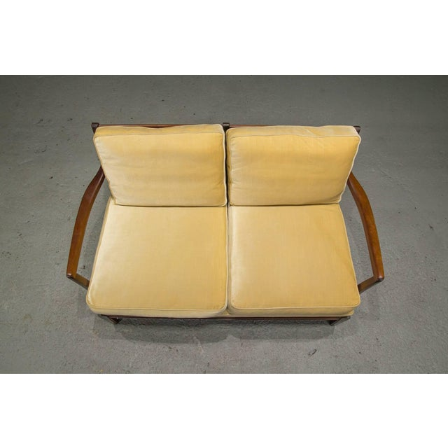 1950s Danish Modern Loveseat Settee With Down Cushions For Sale - Image 5 of 11