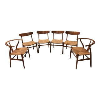 Hans Wegner Mid-Century Modern Dining Chairs - Set of 6 For Sale