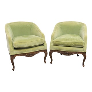 Louis XV Fruitwood Carved Club Chairs - a Pair For Sale