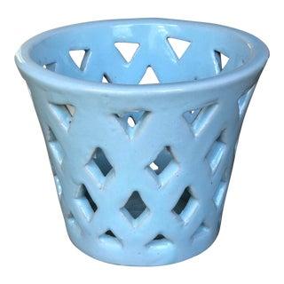 Campania Linen Sky Blue Planter For Sale