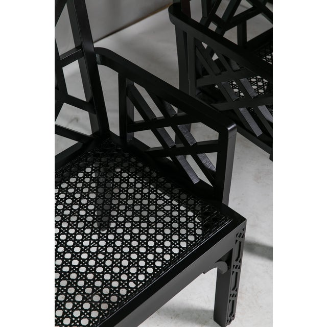 1980s Vintage Madcap Cottage Black Chinoiserie Fretwork Chairs-a Pair For Sale - Image 12 of 13