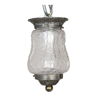 1920s Molded Ice Glass Flush Mount For Sale