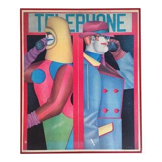 """Richard Linder Vintage 1980 Framed Pop Art Poster """"Telephone"""" 1966"""