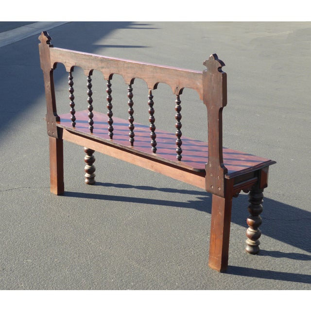 Vintage Spanish Colonial Style Carved Wood Spindle Bench Settee - Image 5 of 10