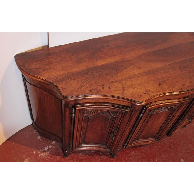 Wood Country French Louis XV Walnut Serpentine Buffet For Sale - Image 7 of 10