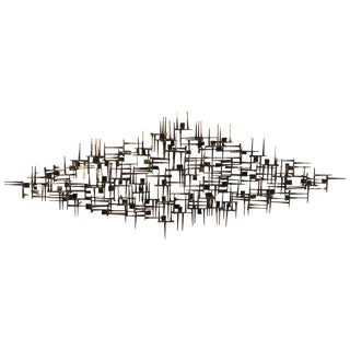 1960s Vintage Brutalist Nail Wall Sculpture For Sale