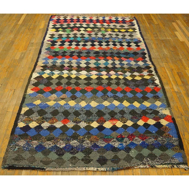 """Vintage Persian kilim 9'3"""" x 4'8"""", Handmade with recycled fabric."""