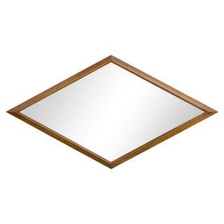 1960s Walnut Diamond-Form Mirror For Sale