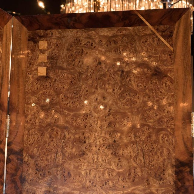 Art Deco Style Four Panel Screen in Burled Carpathian Elm with Geometric Shapes For Sale In New York - Image 6 of 9
