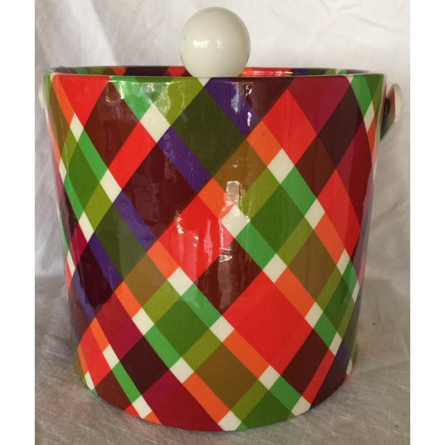 Green Vintage Plaid Retro Ice Bucket For Sale - Image 8 of 8
