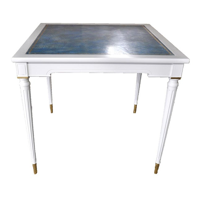 Neoclassical-Style Blue Leather Game Table - Image 2 of 4