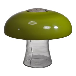 Green glass table lamp, Italy, 1970s For Sale
