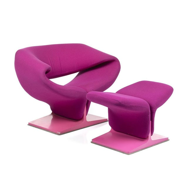 Pierre Paulin Pierre Pauline Pink Ribbon Chair and Ottoman For Sale - Image 4 of 4