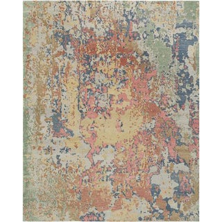 Modern Handmade Wool and Silk Carpet - 8′ × 10′ For Sale
