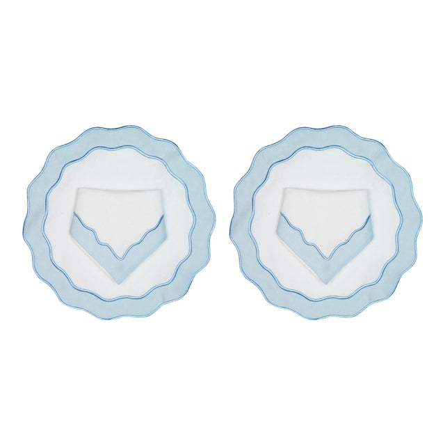 Sky Applique Dinner Napkins and Placemats - Set of 4 For Sale
