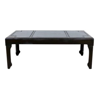 Black Inlaid Leather Top Chinese Chippendale or Ming Style Petite Coffee Table For Sale