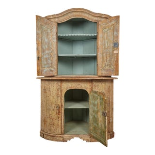 18th Century Gustavian Corner Cabinet For Sale