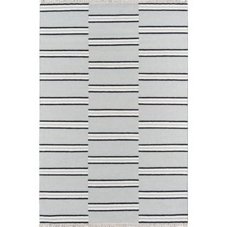"Erin Gates Thompson Union Grey Hand Woven Wool Area Rug 7'6"" X 9'6"" For Sale"