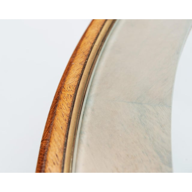 Elegant oak and glass coffee table from France with nice details. Beautiful etching along glass edge, with brass...