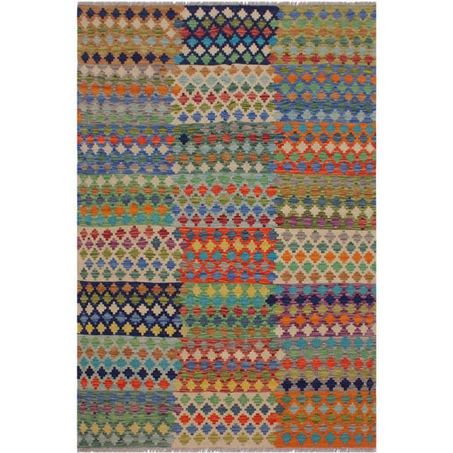 Orange Contemporary Kilim Sanders Ivory Hand-Woven Wool Rug- 5′6″ × 8′ For Sale - Image 8 of 8