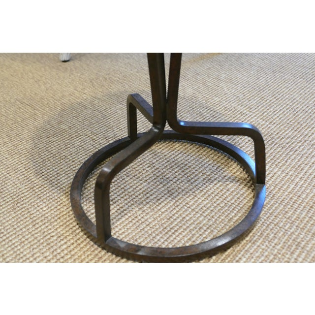 Bunny Williams Bunny Williams Wrought Iron and Marble Drink Table For Sale - Image 4 of 5