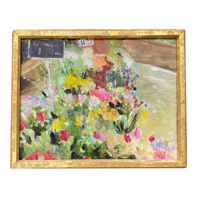 """""""Mixed Bouquet on Floor"""" Painting in Gold Frame For Sale"""