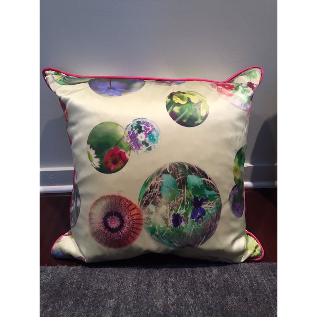 Contemporary Silk Printed Pillows - A Pair For Sale - Image 4 of 5