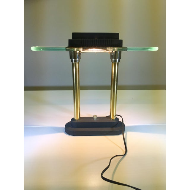 Classic high quality desk lamp from the 1980's. Vintage. Post Modern and timeless. Heavy. Original, working condition.